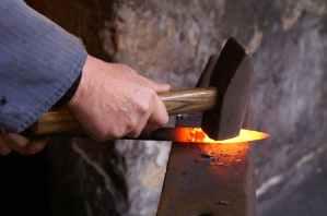 hot iron steel glow